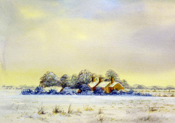 Watercolour: In the Deep Mid Winter, West Norfolk